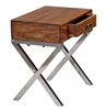 Picture of Solid Wood Sheesham Nightstand With Metal Stand