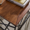 Picture of Solid Wood Coffee Table With Puzzle Iron Base