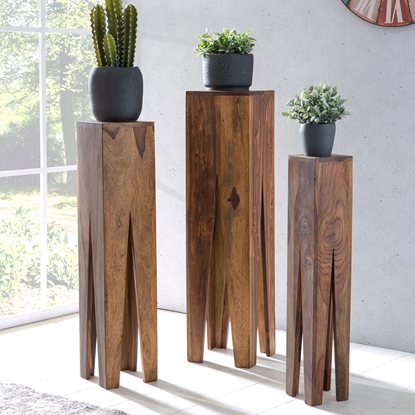 Picture of Solid Wood Sheesham Set Of 3 Giraffe Like Legs Side Table