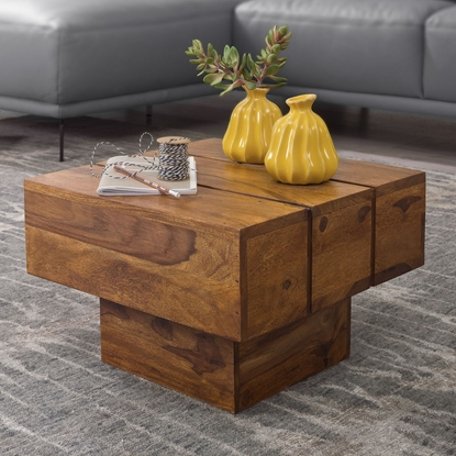 Picture of Solid Wood Sheesham Grooves Small Coffee Table