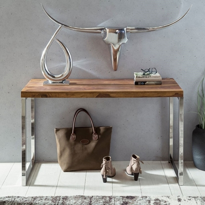Picture of Solid Wood Sheesham Console Table Supported With Chrome Frame