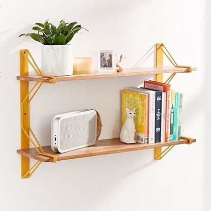 Picture of Solid Wood And Metal Wall Shelf