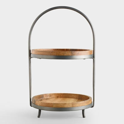Picture of Solid Wood And Metal 2-Tier Serving Stand