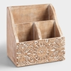 Picture of Mini Hand-Carved Wood Desk Organizer
