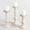 Picture of Wooden White Wood Pillar Candle holder Set of 3
