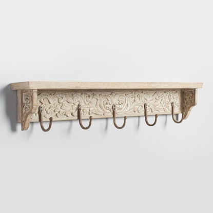 Picture of Wooden Carved 5 Hook Wall Shelf