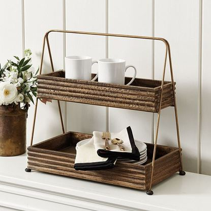 Picture of Rustic 2 Tiered Stand by Woodenmood