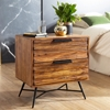 Picture of Solid Wood Sheesham Bedside With Iron legs And 2 Drawers