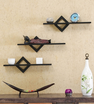Picture of Set Of 3 Sheesham Wood Floating Wall Shelves