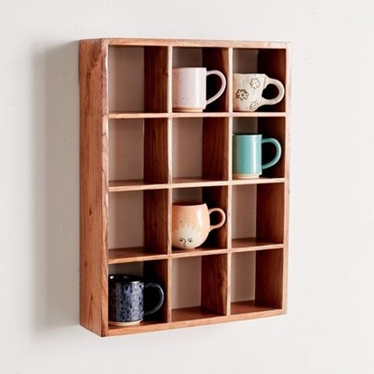 Picture of Solid Wood Floating Wall Shelf With 12 Small Compartments