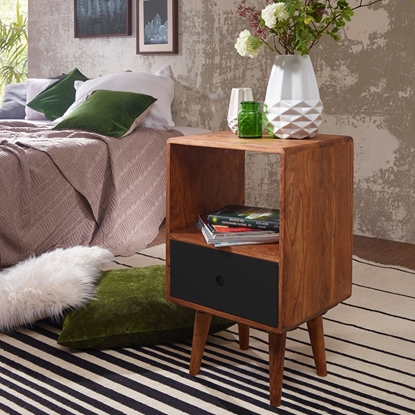 Picture of Solid Wood Sheesham Bed Side With 1 Drawer In Black Finish