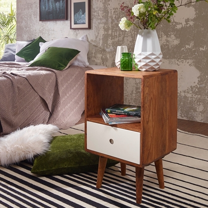 Picture of Solid Wood Sheesham Bed Side With 1 Drawer In White Finish