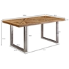 Picture of Solid Wood And Iron Dining Table With Many Strips On The Top