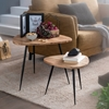 Picture of Solid Wood Set Of Two Side Table With Narrow Iron Stand