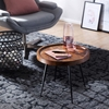 Picture of Solid Wood Sheesham Round Side Table With Iron Legs