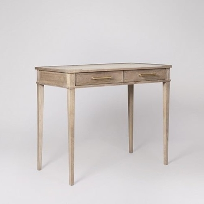Picture of Claudine Desk, Brass & Sandblasted Grey Mango Wood