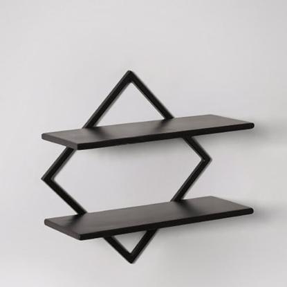 Picture of Wooden Orien Wall Shelf In Black Finish