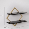 Picture of Wooden Orien Wall Shelf In Black And Brass Finish