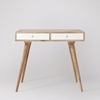 Picture of Solid Wood Otto Desk In Natural Finish With 2 White Drawers