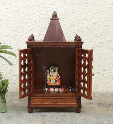 Picture of Matey Sheesham Wood Pooja Mandir