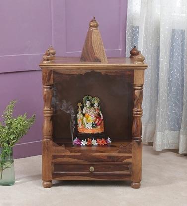 Picture of Solid Wood Sheesham Open Pooja Mandir