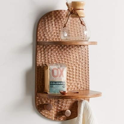 Picture of Solid Wood Sheesham 2-Tier Wall Shelf With Multi-Hook