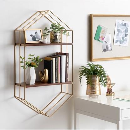 Picture of Golden Hexagonal Iron Wall Shelf