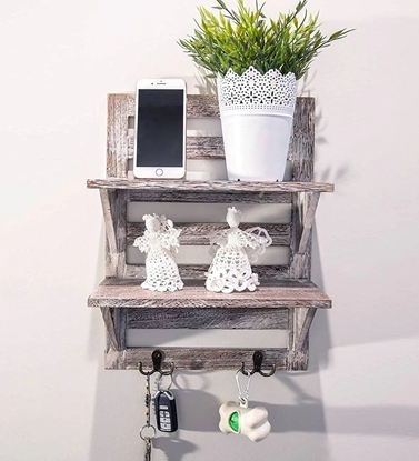 Picture of Mango Wood Floating Wall Shelf in Rustic White Colour