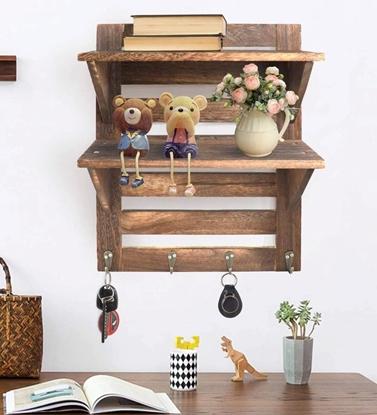 Picture of Mango Wood Floating Wall Shelf in Teak Finish