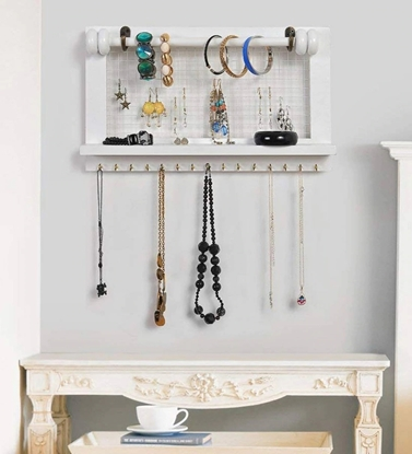 Picture of Mango Wood Floating Wallshelf in White Colour