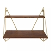 Picture of Elita Two-Tier Wood and Metal Wall Shelf Brown/Gold